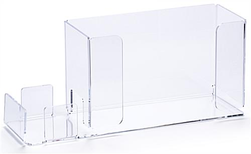 Clear acrylic glove box holder with sanitizer pocket and durable construction