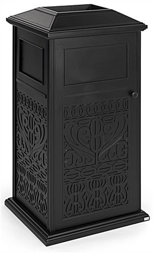 Decorative outdoor trash can has design on all four panels