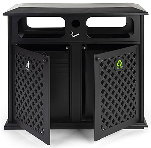 Dual outdoor waste bin with two easy removable trash bins
