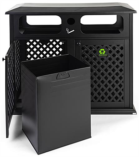 Dual outdoor waste bin with 34 gallon capacity