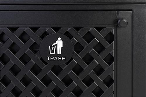 Dual outdoor waste bin with trash and recycle labels