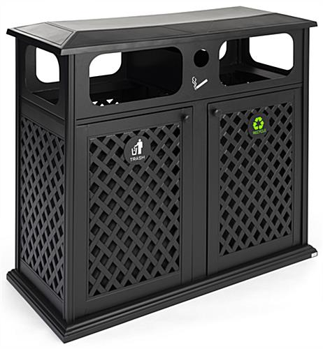 Dual outdoor waste bin manufactured in cast aluminium