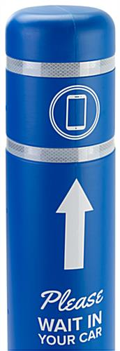 Personalized bollard post protection sleeve with two reflective bands