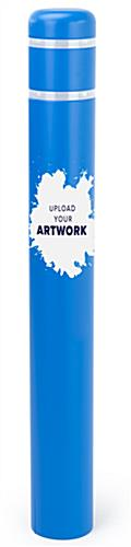 Personalized bollard post protection sleeve with cut vinyl graphics