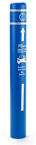 Personalized bollard post protection sleeve with one-color graphic