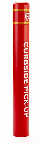 Branded plastic post bollard cover with one-color cut vinyl graphics