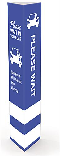 Social distance printed bollard sleeves with curbside pickup message