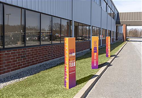 Triangle marketing bollard cover has three panels for different customization opportunities