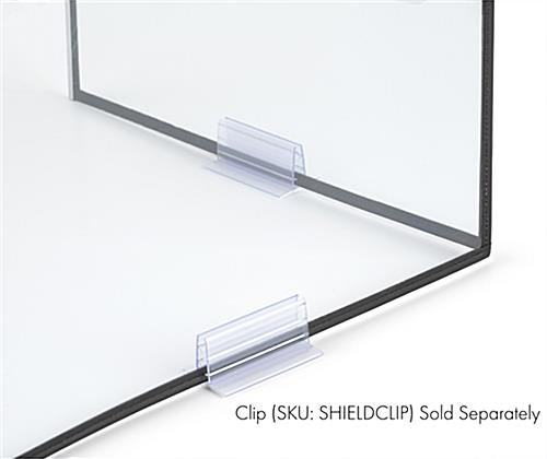 3-panel desktop hygiene barrier with optional clip accessory
