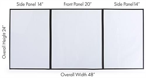 3-panel desktop hygiene barrier with each screens dimensions