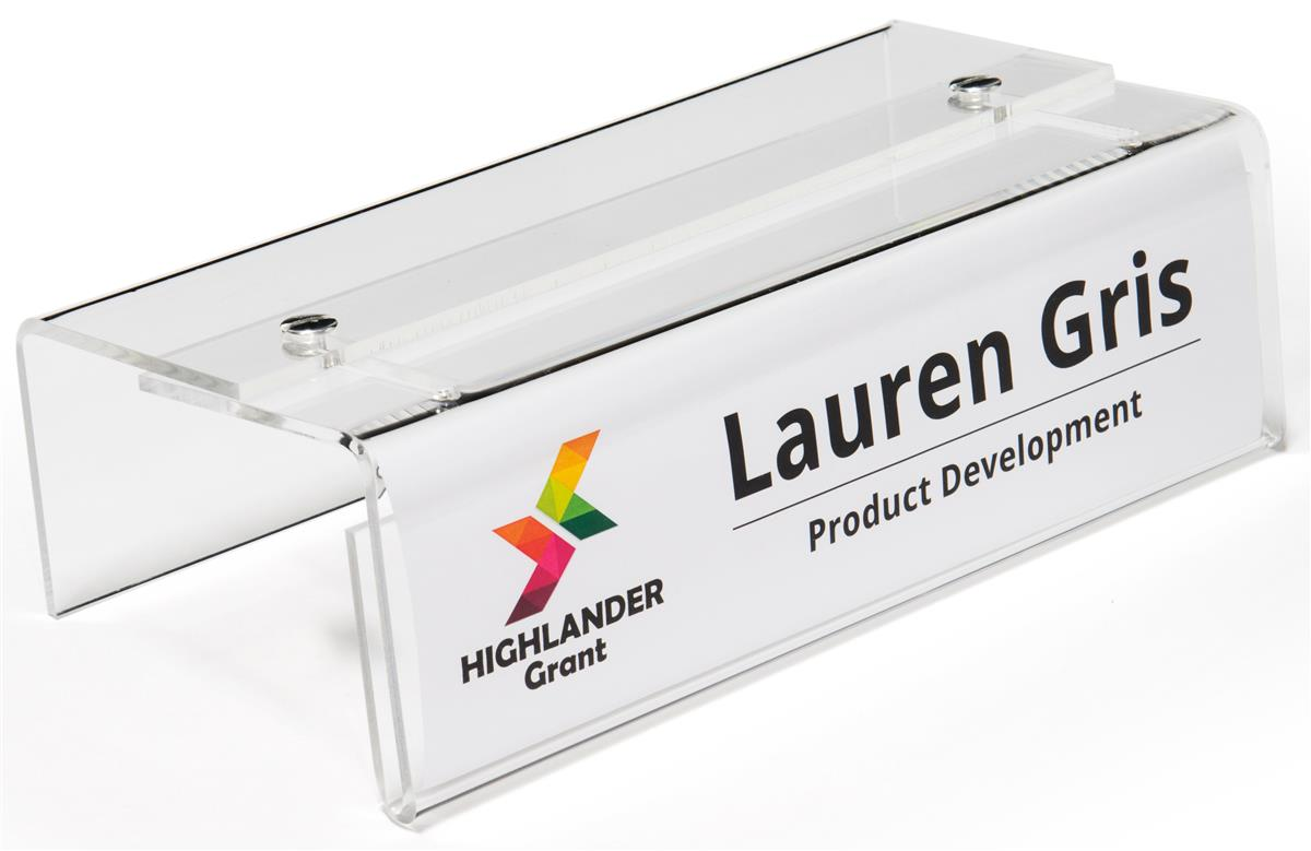 Adjustable Acrylic Cubicle Name Plate Holder Single Sided