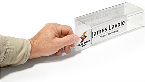 Acrylic cubicle name plate bracket with side insertion for signs