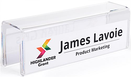 Acrylic partition name plate display with custom graphics