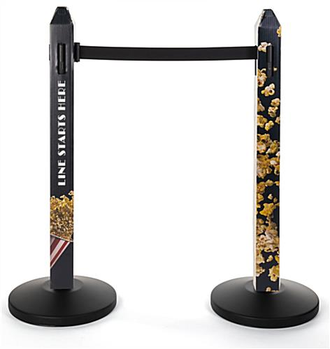 Stanchion cover with custom graphics with digital printing