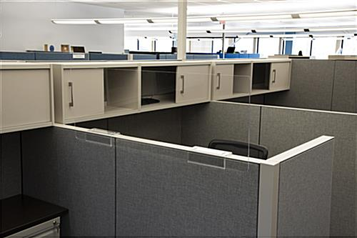 Cubicle sneeze guard with see-through clear finish