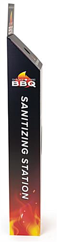 Sanitizer wipe floor stand with custom signage with two graphics on both sides