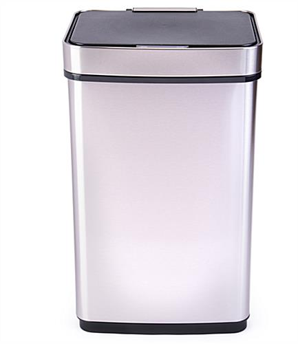 rectangular motion sensor trash can with soft close plastic lid