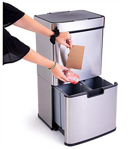 Touchless garbage can with stainless steel finish
