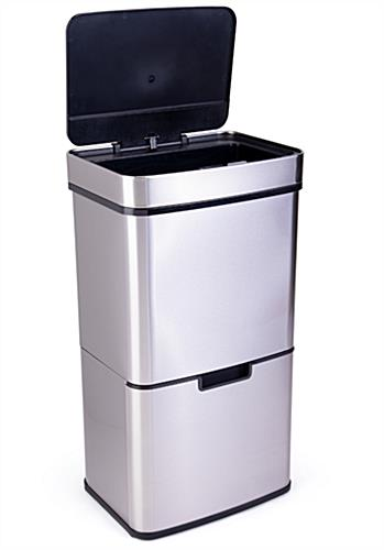 Touchless garbage can with multi compartment sorting bins