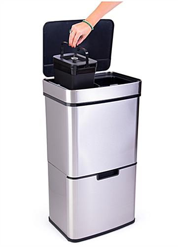 Touchless garbage can with two bottom multipurpose 3 gallon bins