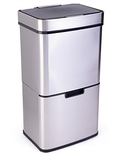 Stainless steel touchless garbage can with a recycling bin