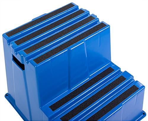 Blue plastic safety step with black non-slip steps