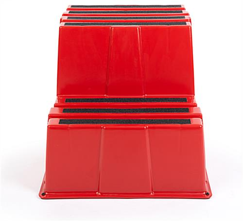 Red durable polyethylene stair step stool