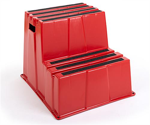 Red polyethylene stair step stool