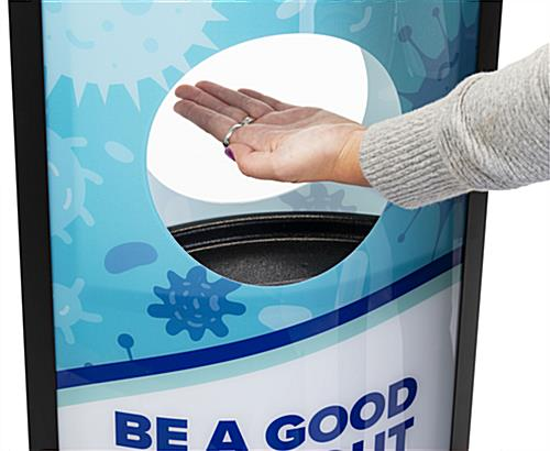 Hand sanitizer advertising station with built in drip well