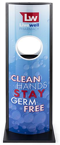 Automatic hand sanitizer advertising kiosk takes 4 C batteries