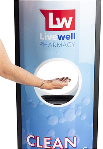 Automatic hand sanitizer advertising kiosk with built-in drip well