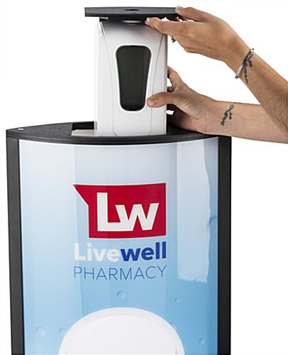 Automatic hand sanitizer advertising kiosk with 1000 mL refillable container inside dispenser