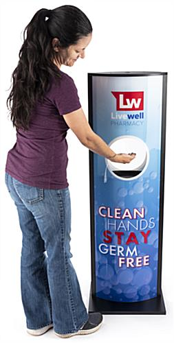 Automatic hand sanitizer advertising kiosk is a floor standing unit
