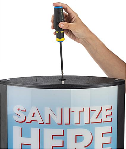 Sanitize here touchless dispenser with double sided graphics
