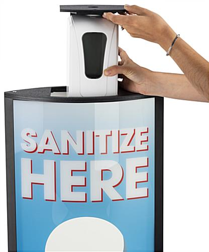 Sanitize here touchless dispenser is battery operated