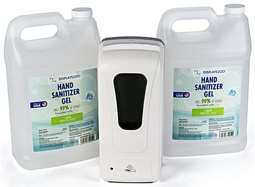 Wall mounted hands free sanitizer dispenser with gallon refill container s