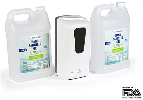 Wall mounted hands free sanitizer dispenser with 2 gallon size gel containers
