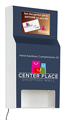 Wall-mounted custom hand sanitizer station with digital sign