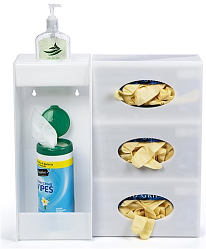 Wall mounted hygiene supply station for PPE and cleaning supplies