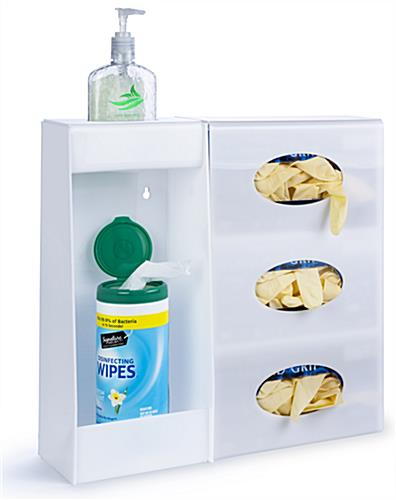 White acrylic wall mounted hygiene supply station