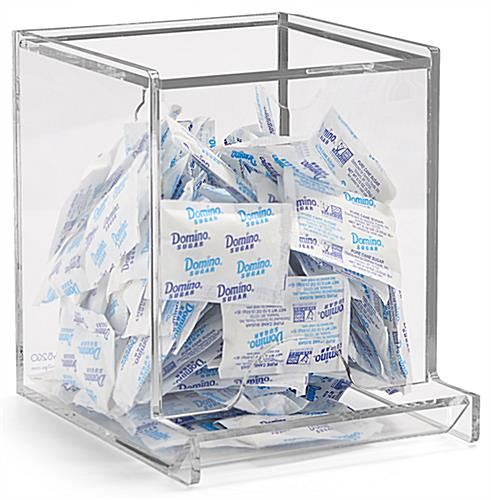 Clear acrylic single use packet dispenser
