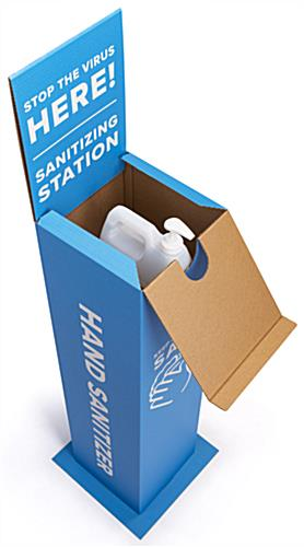Cardboard hand sanitizer station with flip open top