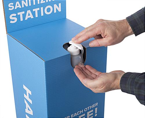 Cardboard hand sanitizer station with easy assembly