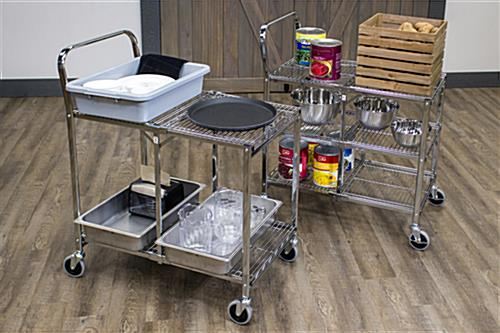Folding steel utility cart with either 2 or 3 shelves