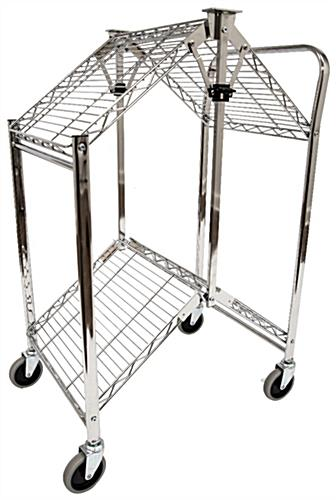 Folding steel utility cart fold for easy storage