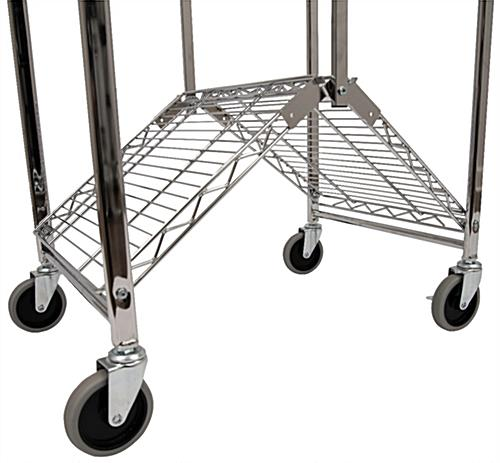 Folding steel utility cart with built-in folding instructions