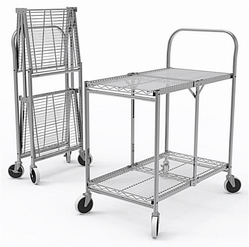 Folding steel utility cart with 37 inch width