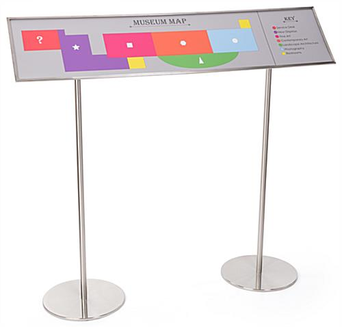 Silver reader rail information display panel with 60 degree angled sign plate