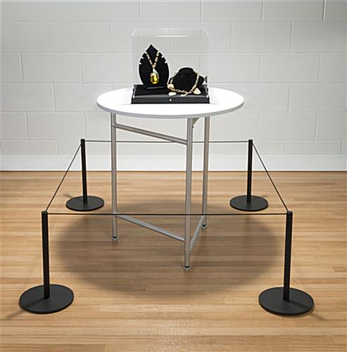 Black Low Profile Exhibit Stanchion Connected to 3 Other Posts for a Barricade Around Jewelry