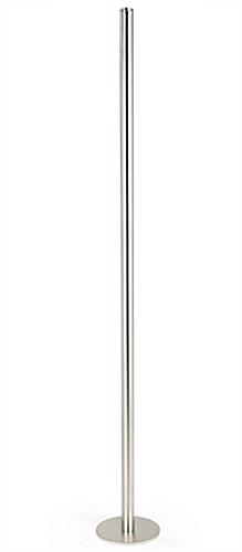 Art gallery fixed floor stanchion with brushed stainless steel finish